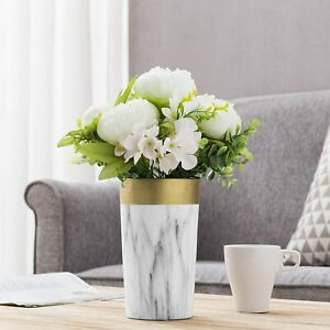 8-inch Marble Pattern Gold & White Ceramic Decorative Flower Vase for Greenery