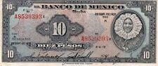 VF 1937 Banco de México 10 Pesos Tehuana Small M Series,Subserie A, Pick: 35a1