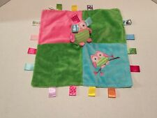 TAGGIES Mary Meyer Ooddles Owl Security Blanket Lovey Green Pink Satin Tags