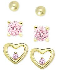 Children Earrings 18K Gold/Sterling Silver Pink Cubic Zirconia Stud Set