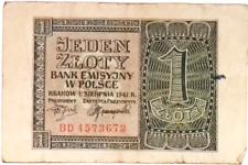 1940 Nazi Germany Occupation of Poland 1 Zloty banknote