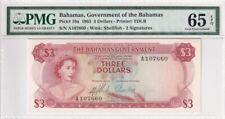1965 Bahamas 3 Dollars P-19a  PMG 65 EPQ Gem UNC