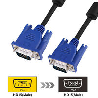 VGA HD Male to Male M/M 15Pin Extension Cable Cord SVGA for PC Laptop Monitor