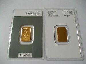Heraeus Goldbarren 5 g / Grutschmit Zertifikat, in Blister, 999.9 Gold, LBMA