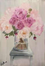 Print of Original oil painting art floral pink peonies impressionism shabby chic