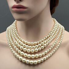 Creamy White Glass Pearl Multi Layered Strand Bead Chunky Necklace 07142 String