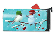 GOING SOUTH FOR WINTER Chickadee & Snowman MAGNETIC MAILBOX COVER Made in USA