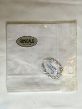 Monogrammed Handkerchief with blue letter N in floral wreath. new in packet