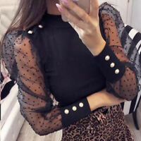 Womens Mesh Puff Long Sheer Sleeve Top Tops Pullover Blouse Shirts Party Club