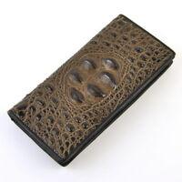 Men Leather Long Snap Wallet Croco Alligator Slim Business Credit Card Holder