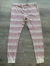Burt's Bees Baby Women's Pajama Pants Small Organic Cotton Fair Isle Red Boho