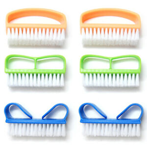 Luxxii (6 Pack)Color Handle Grip Nail Brush - Fingernail Scrub Cleaning Brushes