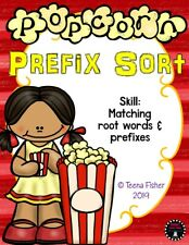 Popcorn Prefix Sorting Literacy Bag Supplies phonics center Teacher Made Game