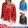 Womens Ladies Polka Dot Casual Long Sleeve T Shirt Tops Lapel Blouse Plus Size