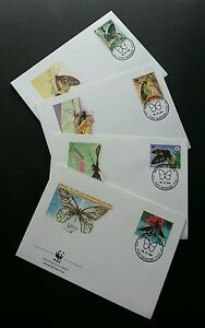 Papua New Guinea WWF Butterflies 1988 Flower Insect Flora Fauna (stamp FDC)