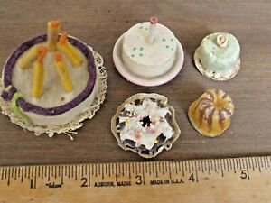Antique  Miniature Cakes and Pastries for a Doll House lot of 5