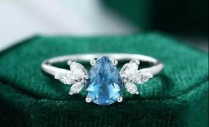1.55 Ct Pear Cut London Blue Topaz Unique Cluster Engagement Ring 925 Silver