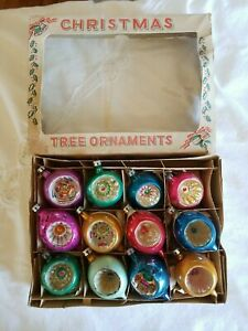 Vintage Christmas Tree Glass Ornaments Reflector Indents Poland