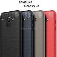 COVER per Samsung Galaxy J6 2018 CUSTODIA MORBIDA Originale CARBONFIBER CARBONIO