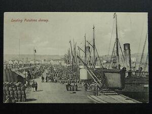 Channel Island JERSEY Docks LOADING POTATOES c1905 Postcard
