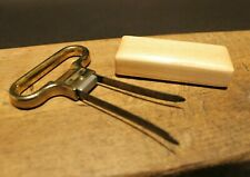 Vintage Style Two Prong Cork Puller Corkscrew Wine Opener w Wood Sheath Italy