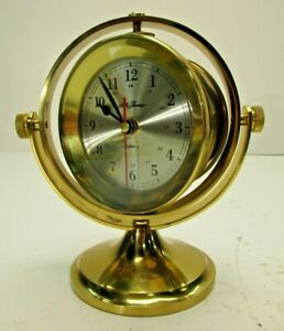 Seth Thomas Polished Brass Nautical Ship Desk Clock Schooner 1990 Vintage 1044