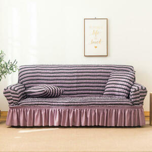 Seersucker Box Cushion Sofa Slipcover Skirt with Elastic Furniture Protect Cover