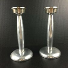 """Metal Pair Candle 3-piece Candlesticks Holder 7.5"""" screw tops & bases mcm"""