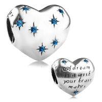 S925 sterling silver Cinderella's Dream Charm Bead Blue CZ fit European Bracelet