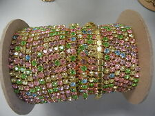2 foot length,swarovski rhinestone chain,29ss light multi colors/polished brass