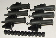 LEGO LOT OF 6 NEW PEARL GREY PIRATE SHIP CIVIL CANNONS WITH BLACK CANNONBALLS
