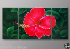 Oil Painting Framed CANVAS Hand painted red flowers water drops - Ready To Hung