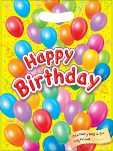 HAPPY BIRTHDAY BALLOON PARTY BAGS ~ RECYCLABLE LOOT TREAT FAVOUR GOODY BAG