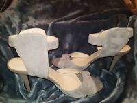 NWOT BEAUTIFUL NINE WEST WOMENS LEATHER GRAY SIZE  8 1/2M HIGH HEEL  SHOES