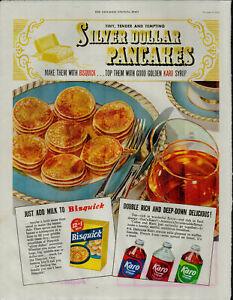 1952 Karo Bisquick Pancakes Syrup Silver Dollar Pancakes Vintage Print Ad 1801