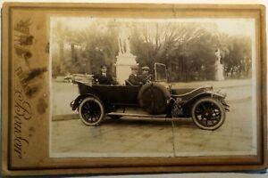 Foto Napoli Villa Comunale con auto d'epoca 1925 Boudoir con strappo (P435)