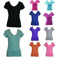 Women's Ladies Soft Stretch T Shirt Tee Top Basic Plain White Black Colours 8-18
