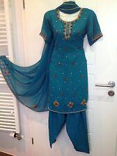 Bollywood Sari Kleid Kostüm Shalwar qameez Kurta Panjabi Mit stickerei Gr. S