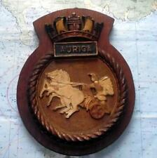 "HMS Auriga Royal Navy Ship Metal Tampion Plaque Crest 10"" X 8"" Approx 3lb"