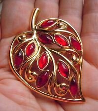 Vintage Trifari Red Cabochon Marquise Open Work, Big Leaf Brooch Pin Estate Lot