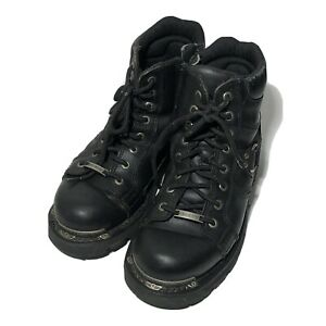 Harley-Davidson Women's 7.5 Maddy Boot Black Leather Combat Motorcycle FLAW