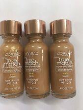3 X L'OREAL True Match Super-Blendable Bronze Glow Warm Light Bronze W 1-2-3.