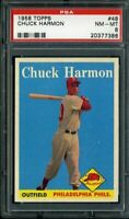 1958 TOPPS #48 CHUCK HARMON PSA 8 PHILLIES CENTERED *DS1060