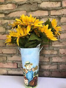 """French Bucket Galvanized Vase Scarecrow Pumpkin Autumn Fall Metal Farmhouse 11"""""""