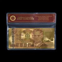 WR Thailand 1000 THAI Baht Bhumibhol 24K Gold Foil Novelty Banknote Gifts /w COA