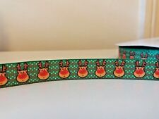 "2 yards - 16mm (5/8"")  wide GREEN REINDEER GROSGRAIN RIBBON CHRISTMAS RUDOLPH"