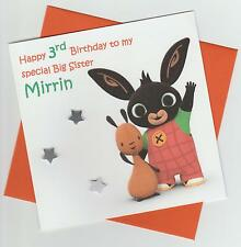 Personalised Handmade Bing Bunny 1st, 2nd, 3rd, 4th, 5th Birthday Card