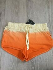 Brand New Womens Topshop Orange Ombre Tie Dye Summer Beach Running Shorts Size 8
