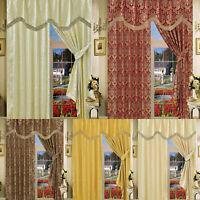 Pair Of Fully Lined Jacquard Pencil Pleat Curtains + Matching Tiebacks & Pelmets