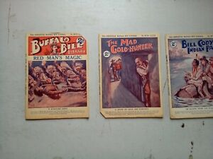 BUFFALO BILL LIBRARY  NO 673/ 677/  678  ALDINES   1920,s  STORY PAPERS